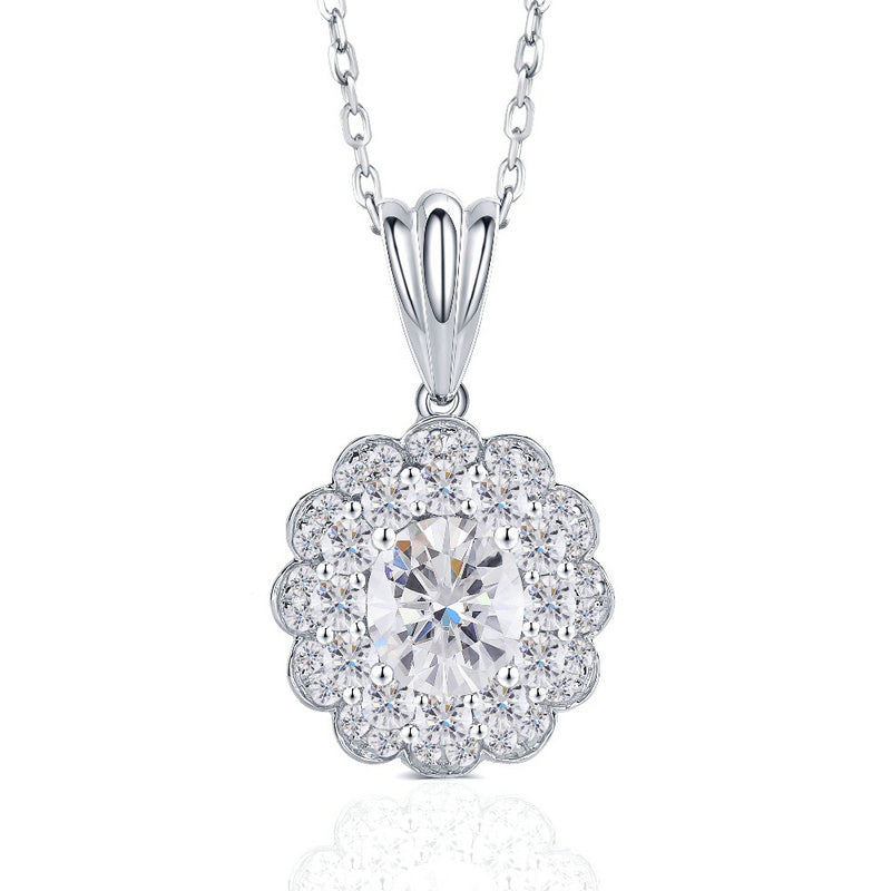 14K/18K Gold 7x9mm Oval Cut Moissanite Diamond Double Halo Pendant Nacklace 18''
