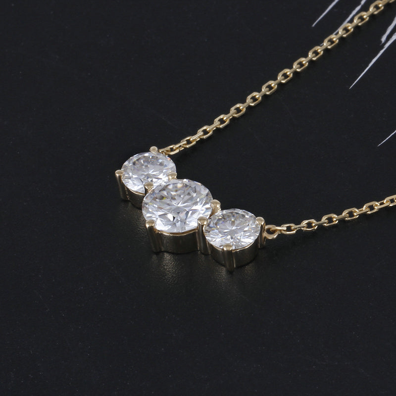 14K/18K Gold 6.5mm Round Cut Moissanite Diamond 3 Stone Nacklace 18''