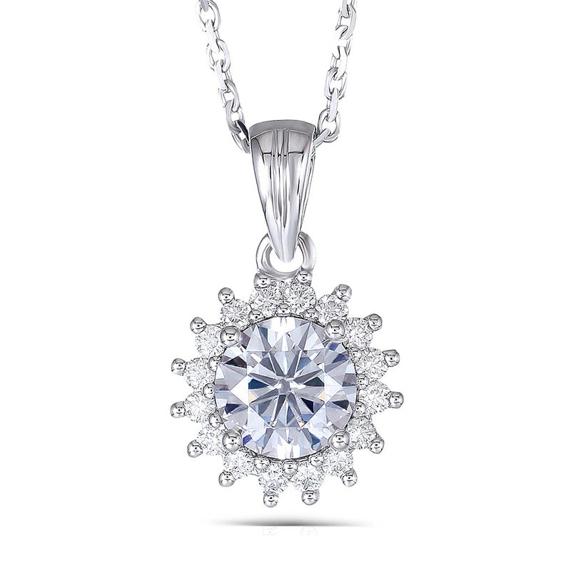 14K/18K Gold 6.5mm Round Cut Color Grade D Moissanite Diamond Halo Sunflower Shaped Pendant Nacklace 18''