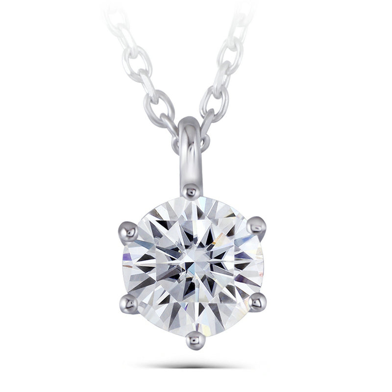 14K/18K Gold 1.5ct Round Cut Moissanite Diamond Classic Solitaire Pendant Nacklace 18''