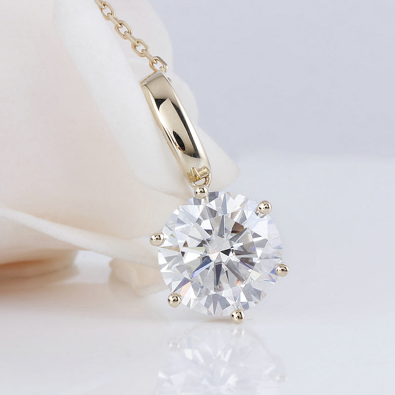 14K/18K Gold 5ct Round Cut Color Grade D Moissanite Diamond Solitaire Pendant Nacklace 18''