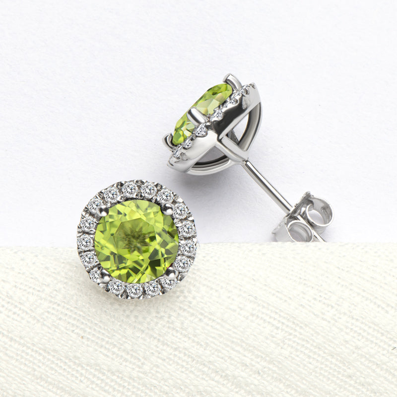 Halo Round Natural Gemstone Peridot Stud Earrings