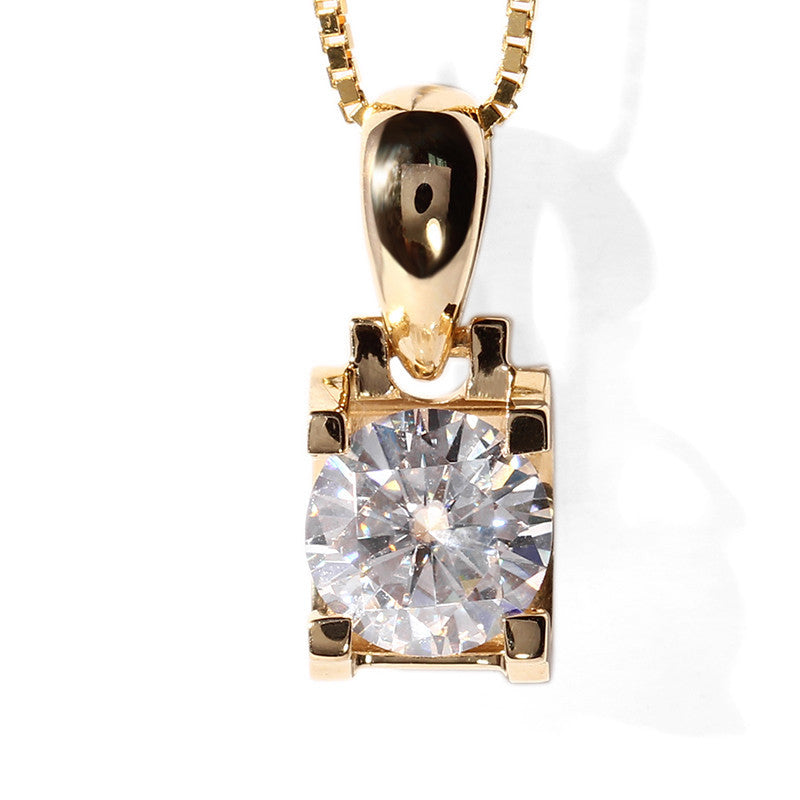 14K/18K Gold 1ct Round Cut Moissanite Diamond Classic Bull Head Pendant Nacklace 18''