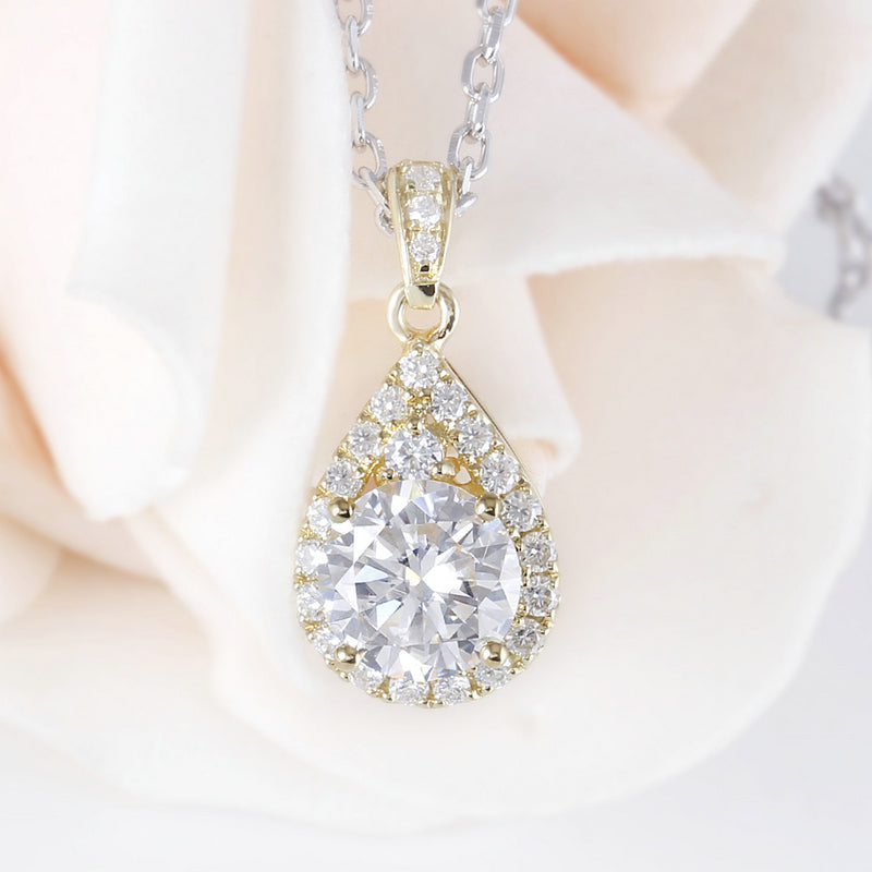 14K/18K Gold 6.5mm Round Cut Moissanite Diamond Pear Shaped Pendant Nacklace 18''