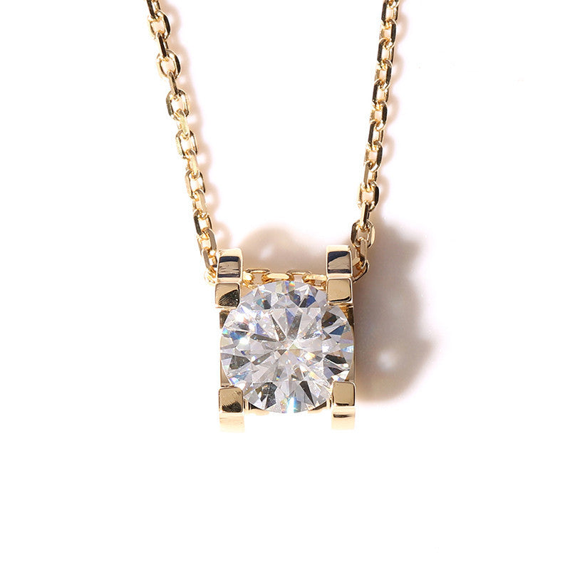 14K/18K Gold 1ct Round Cut Color Grade D Moissanite Diamond Classic Pendant Nacklace 18''