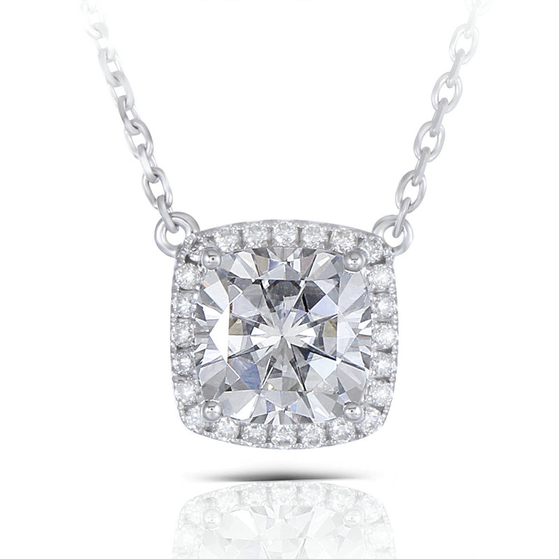 14K/18K Gold 1ct Cushion Cut D Color Moissanite Diamond Classic Halo Nacklace 18''