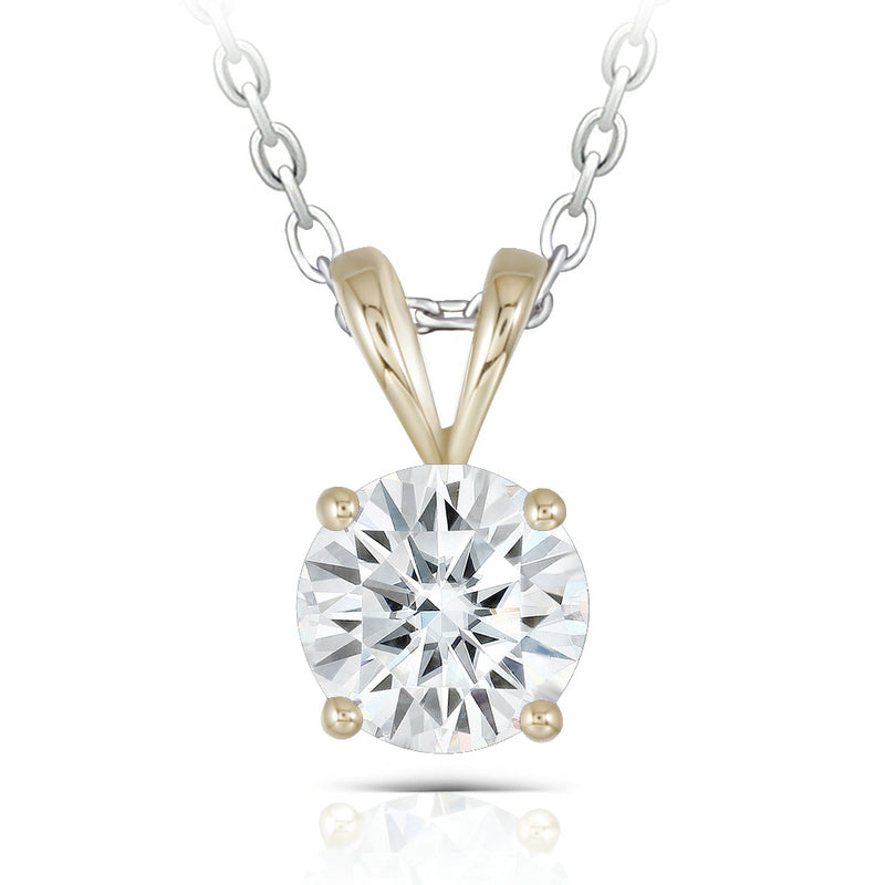 14K/18K Gold Round Cut 2ct D Color Moissanite Diamond Classic Pendant Nacklace 18''