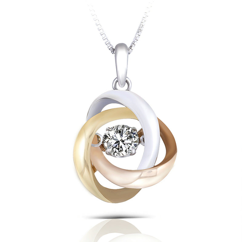 14K/18K Gold Three-Tone 0.3ct Moissanite Diamond Dancing Pendant Nacklace 18''