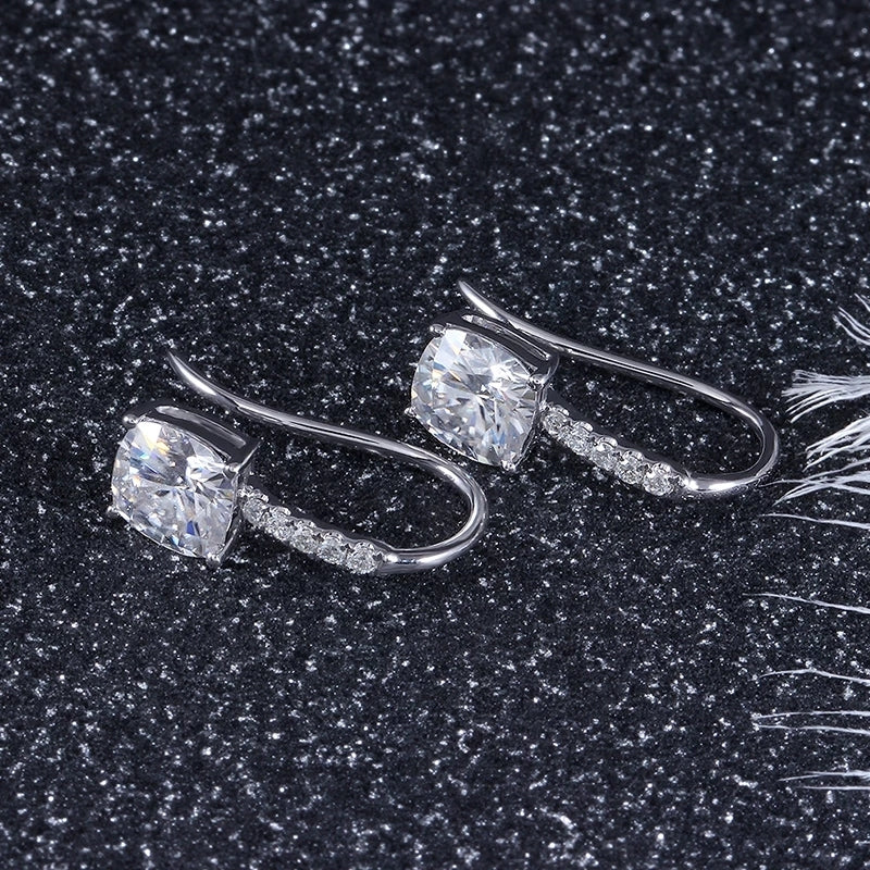 14K/18K Gold Cushion Cut 6x6mm Moissanite Diamond Drop Hook Earrings