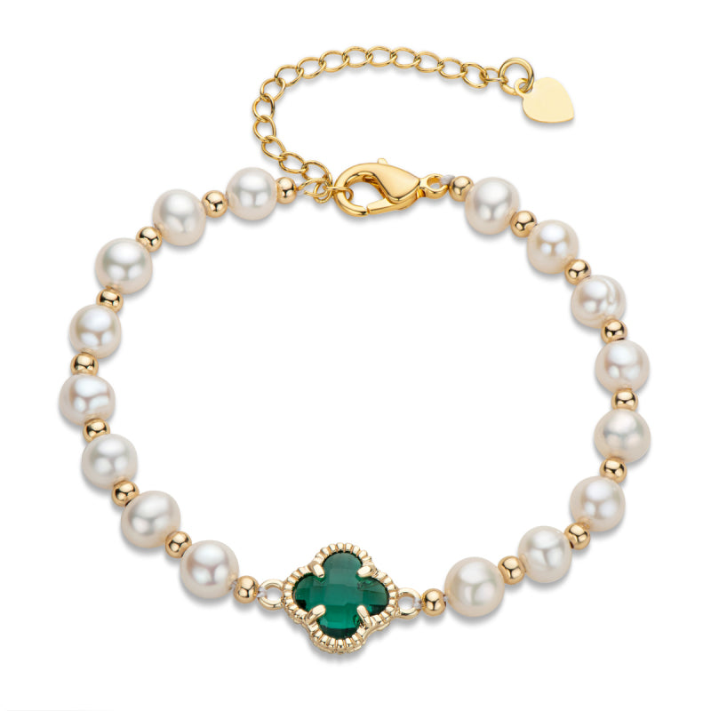 14K Gold Filled 5-6mm White Natural Freshwater Pearl Four Leaf Clover Bracelet