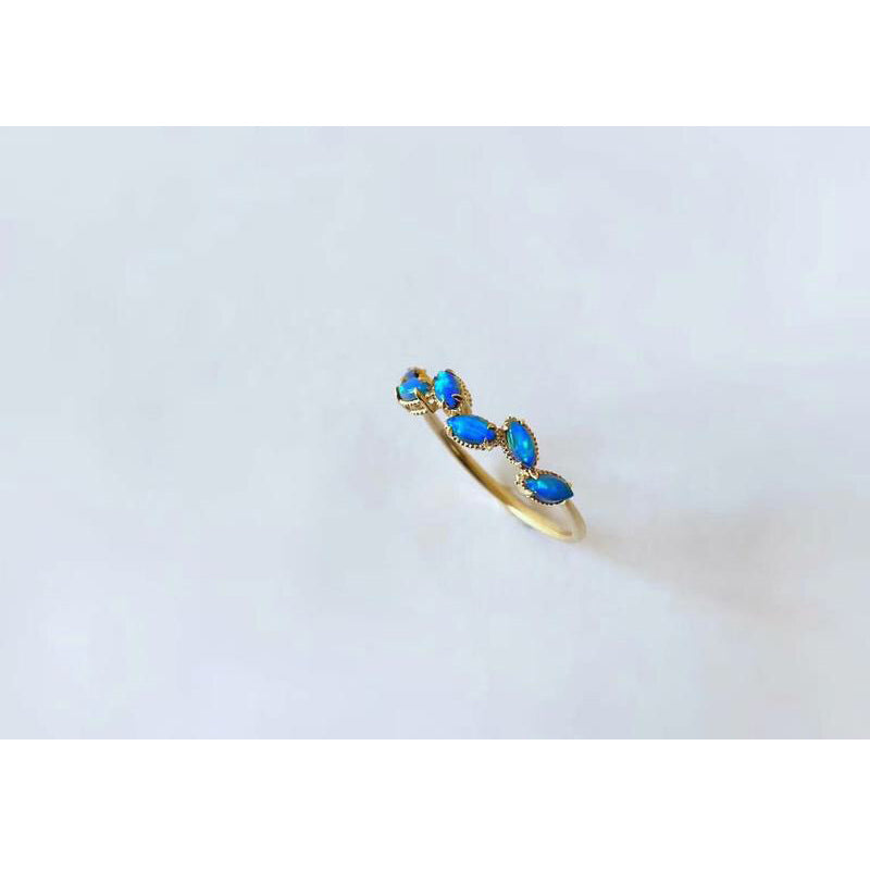 18K Gold Marquise Cut 0.15ct Natural Opal 5-Stone Ring