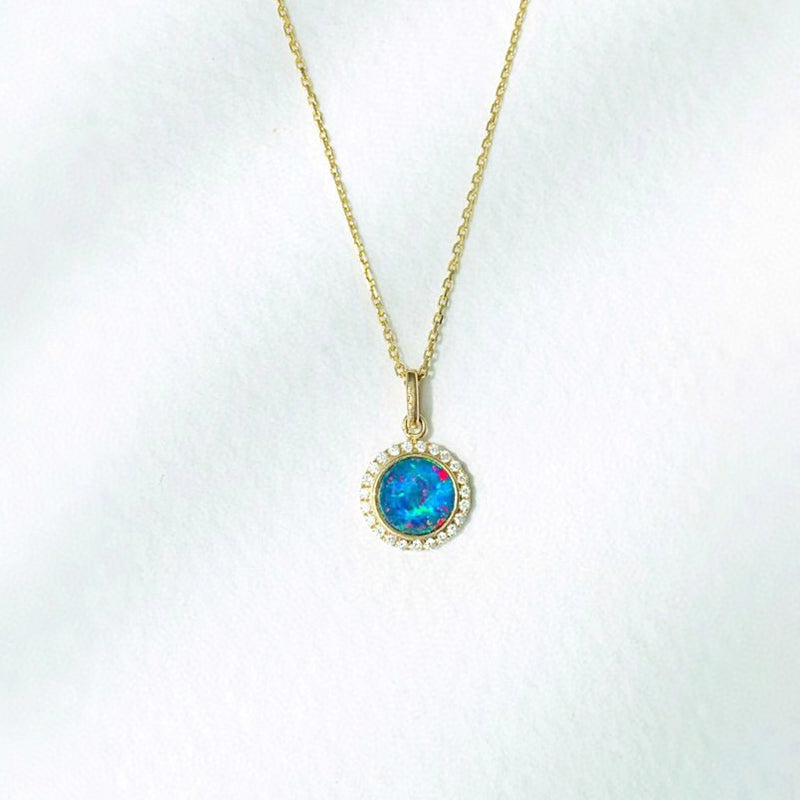 18K Gold Round Cut 0.18ct Natural Opal Diamond Pendant Necklace 18""
