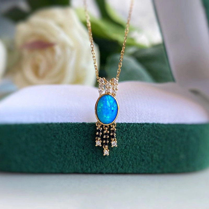 18K Gold Oval Cut 0.5ct Natural Opal Diamond Pendant Necklace 18""