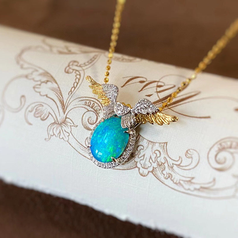 18K White & Gold Oval Cut 1.0ct Natural Opal Diamond Angel Wings Necklace