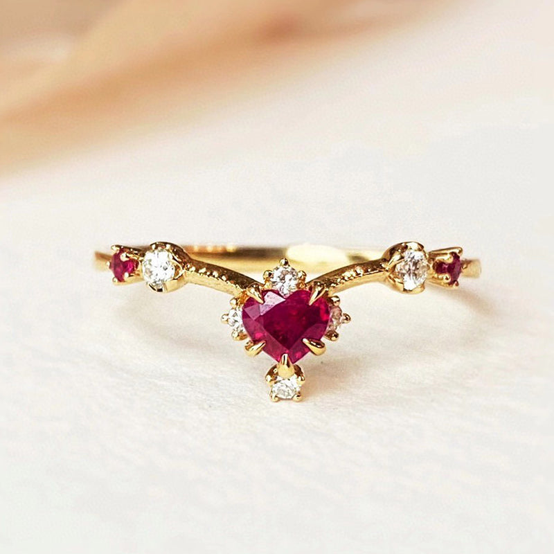18K Gold Heart Shape 0.25ct Natural Ruby Ring