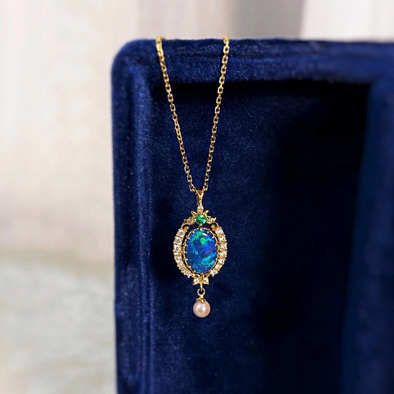 18K Gold Oval Cut 0.40ct Natural Opal Akoya Pearl Pendant Necklace 18""