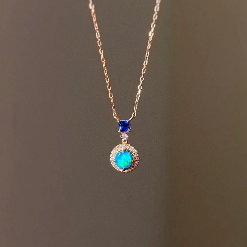 18K Gold Round Cut 0.20ct Natural Opal Sapphire Diamond Necklace 18""