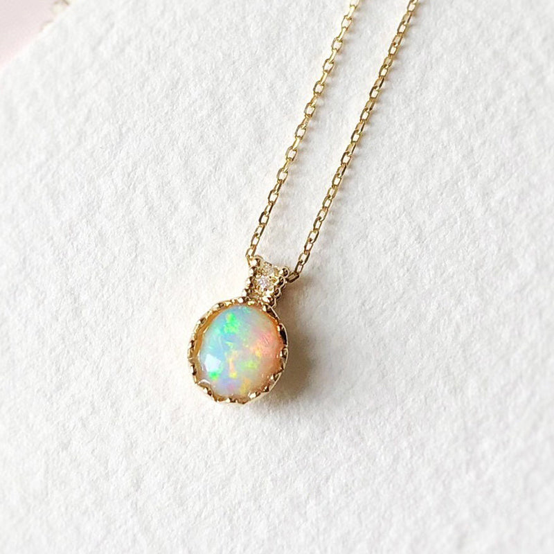 18K Gold 0.60ct Natural Opal Diamond Eggshell Shape Pendant Necklace 18""