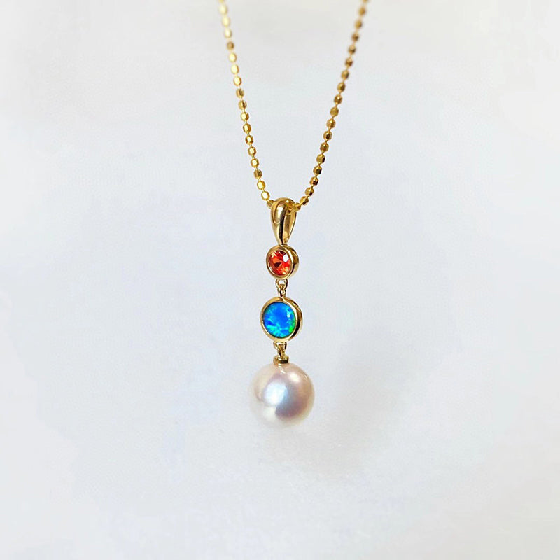 18K Gold 0.06ct Natural Opal 8mm Akoya Pearl Pendant Necklace 18""