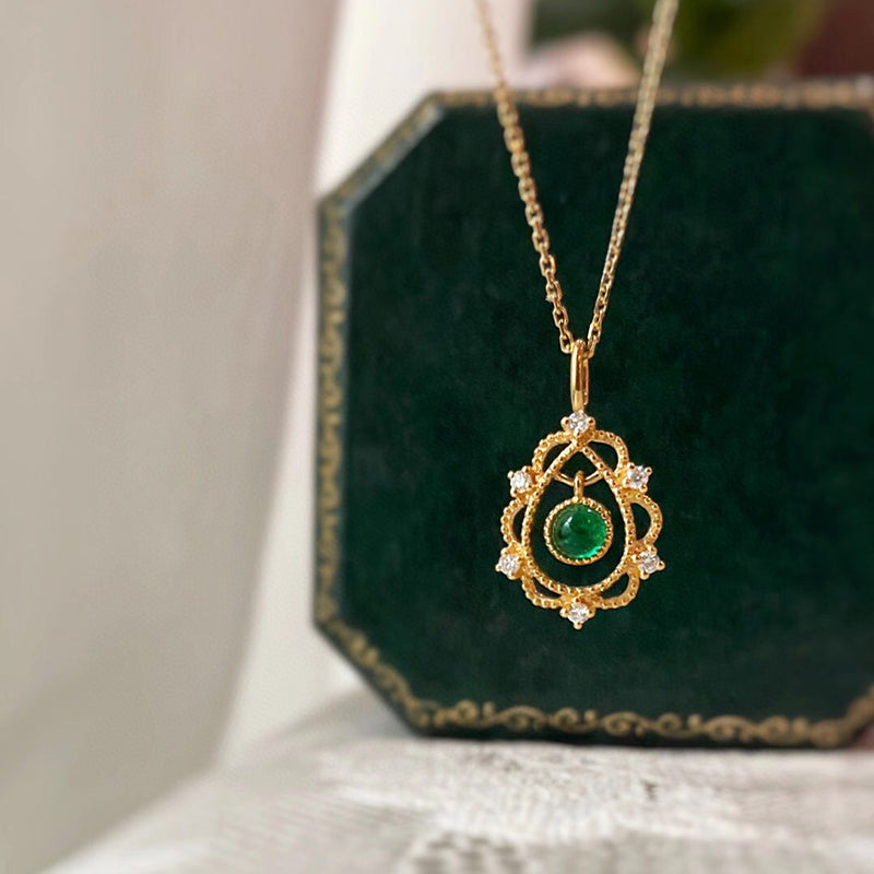 18K Gold Round Cut 0.15ct Natural Emerald Diamond Pendant Necklace 18""