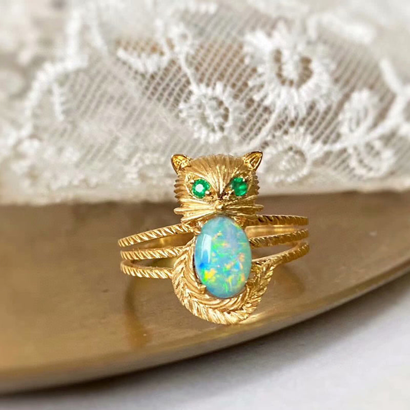 18K Gold 0.50ct Natural Opal & Emerald Owl Luxury Ring