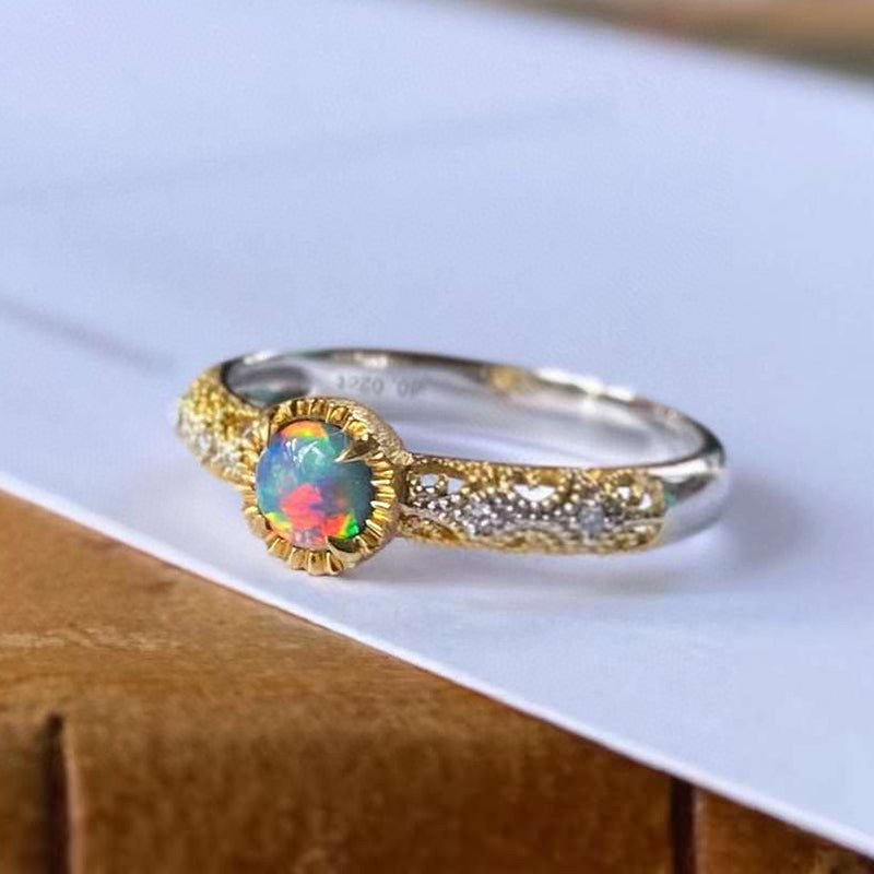18K White & Gold 0.06ct Natural Opal 0.04ct Diamond Vintage Ring