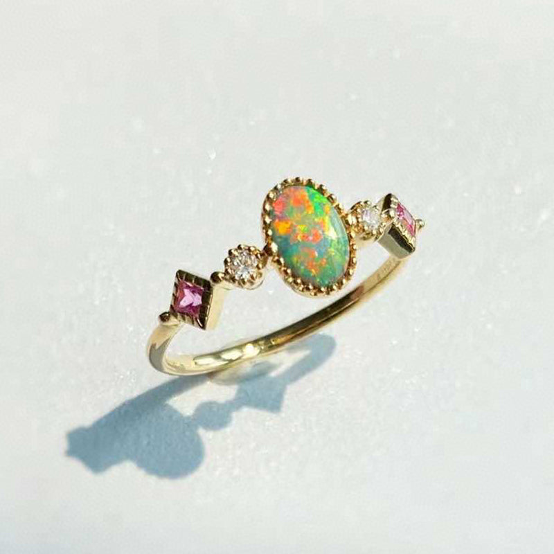 18K Gold 0.08ct Oval Cut Natural Opal Gemstone Ring