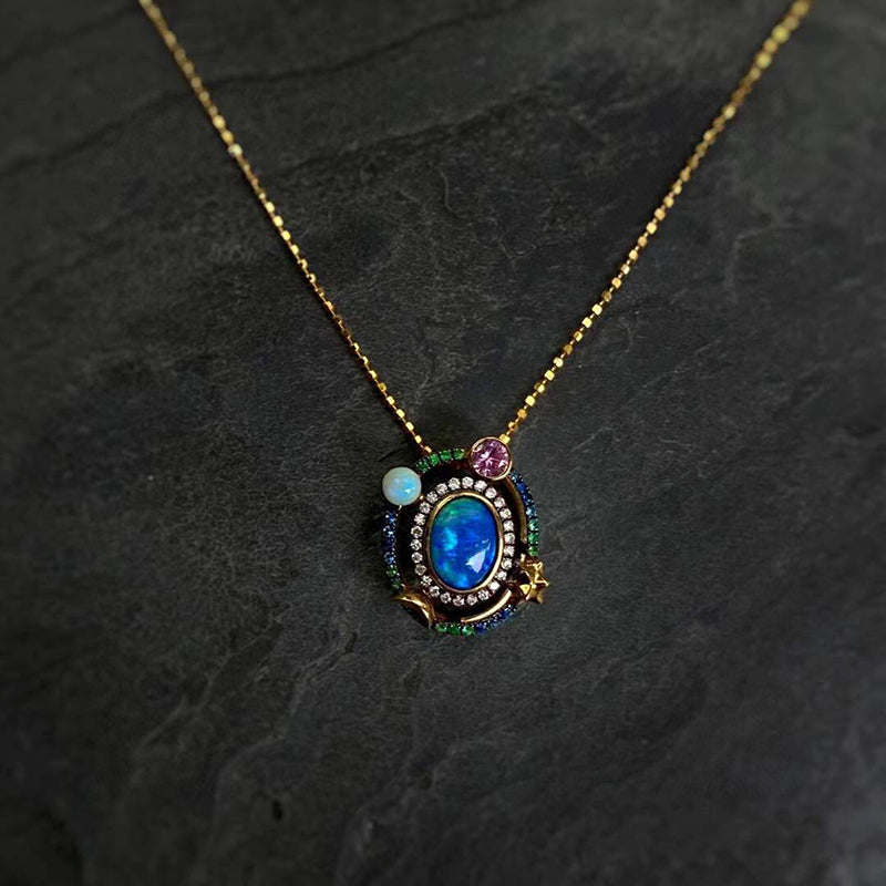 18K Gold Oval Cut 0.6ct Natural Opal Gemstone Halo Pendant Necklace 18""