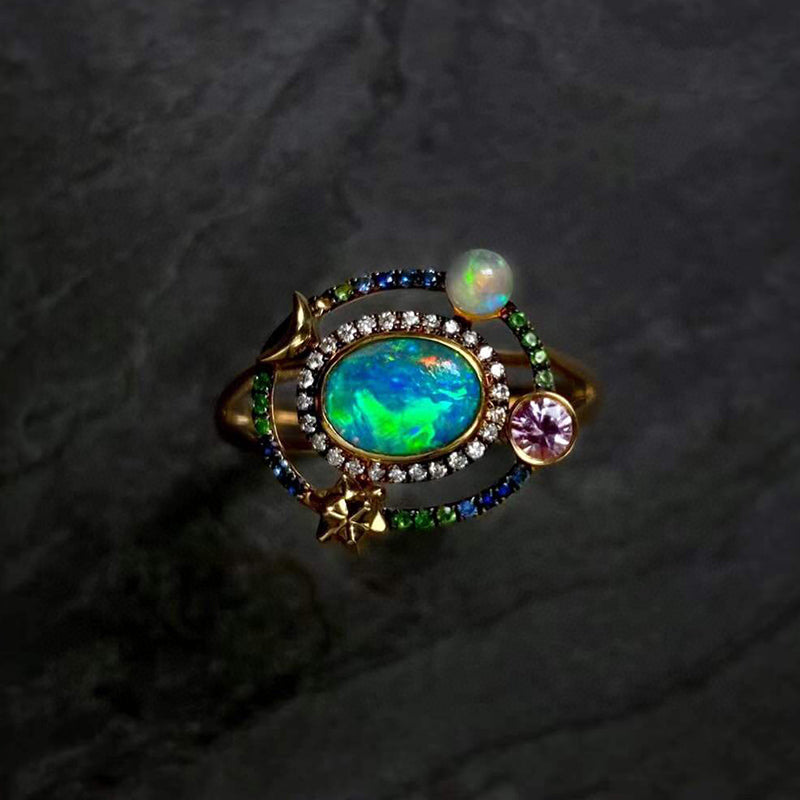 18K Gold 0.6ct Oval Cut Natural Opal Gemstone Halo Ring