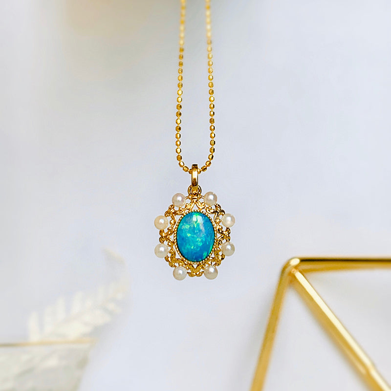 18K Gold Oval Cut 1.0ct Natural Opal AKOYA Pearl Vintage Pendant Necklace 18""