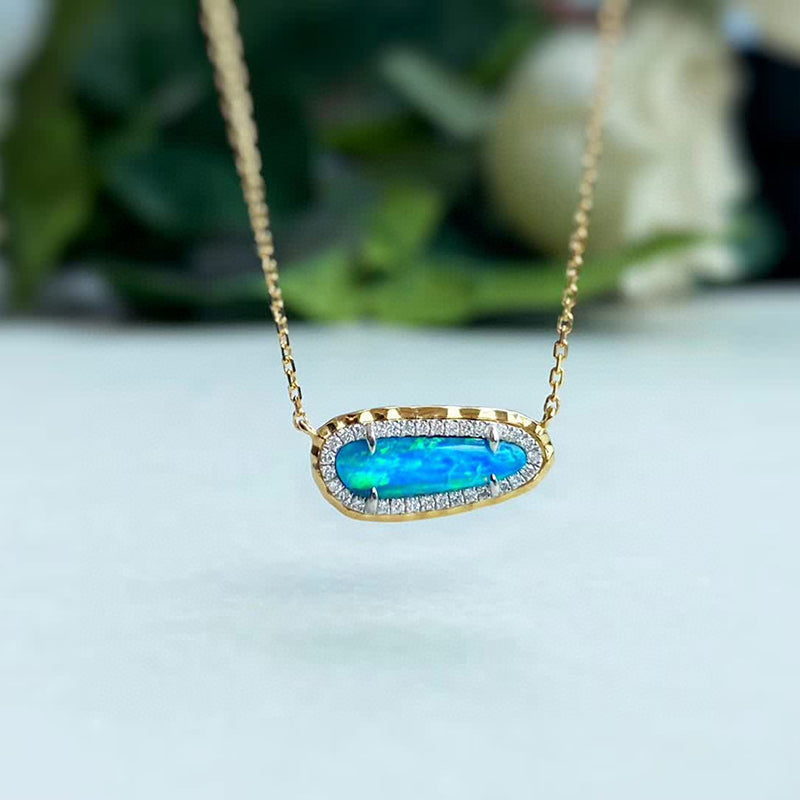 18K White & Gold 0.40ct Natural Opal 0.1ct Diamond Necklace 18""