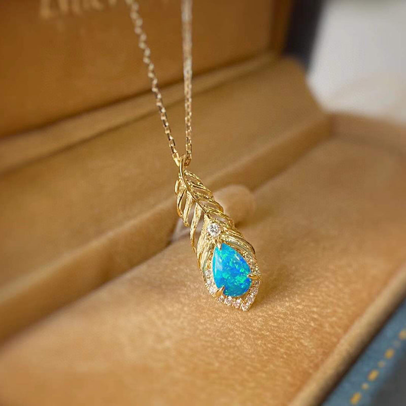 18K Gold 0.30ct Natural Opal 0.03ct Diamond Feather Shape Pendant Necklace 18""