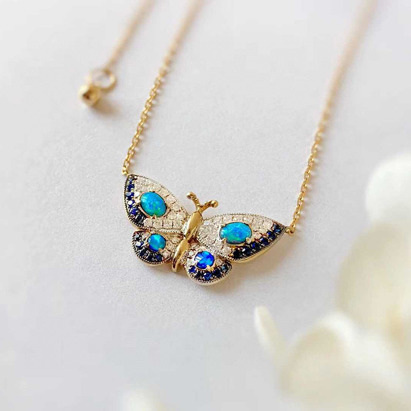 18K Gold 0.18ct Natural Opal Real 0.15ct Diamond Sapphire Butterfly Necklace 18""