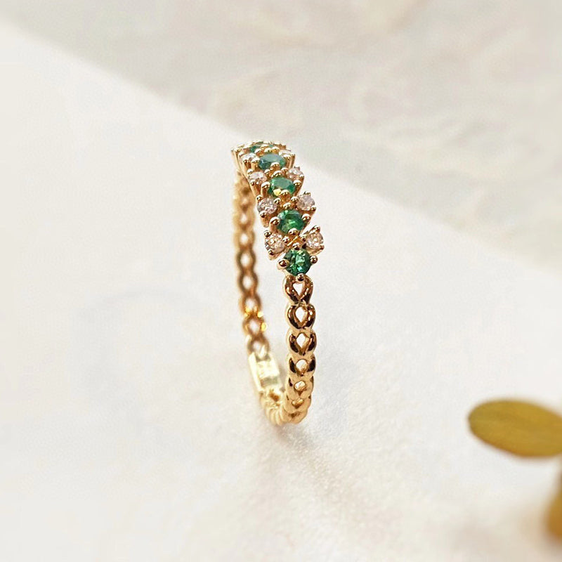 18K Gold 0.13ct Round Cut Natural Emerald Diamond Vintage Ring
