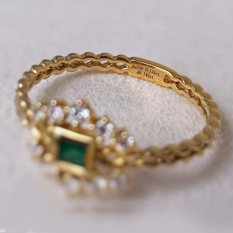 18K Gold 0.15ct Square Cut Natural Emerald Real Diamond Vintage Ring