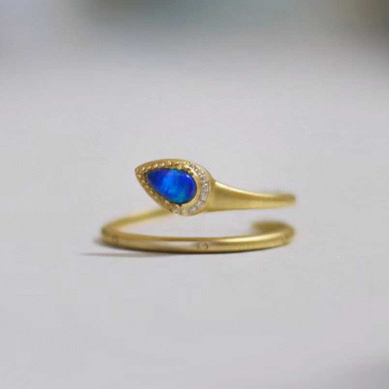 18K Gold Pear Cut 0.06ct Natural Opal 0.03ct Diamond Open Ring