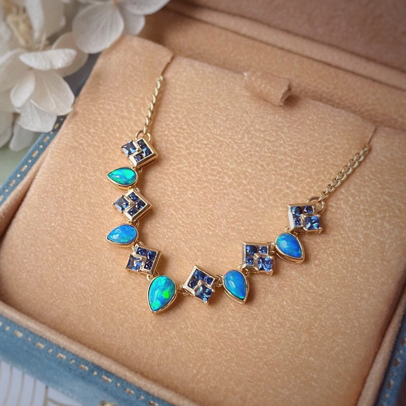 18K Gold 0.8ct Natural Opal Real 0.8ct Sapphire Necklace 18""