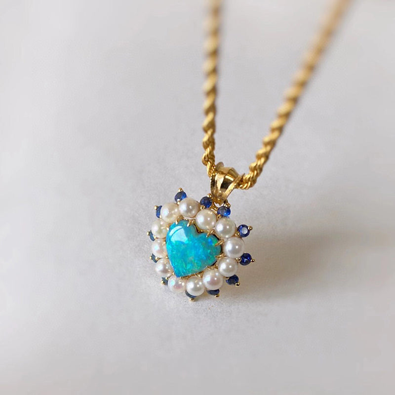 18K Gold Heart Shape 0.7ct Natural Opal Real Sapphire Pearl Pendant Necklace 18""