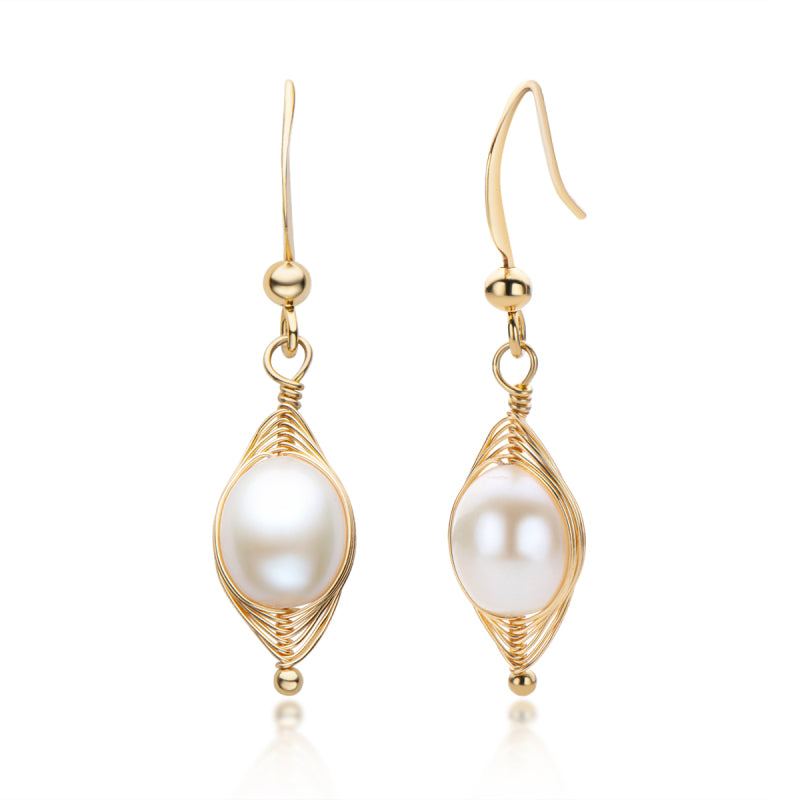 14K Gold Filled 7-8mm Oval Shape White Freshwater Pearl Hook Earrings
