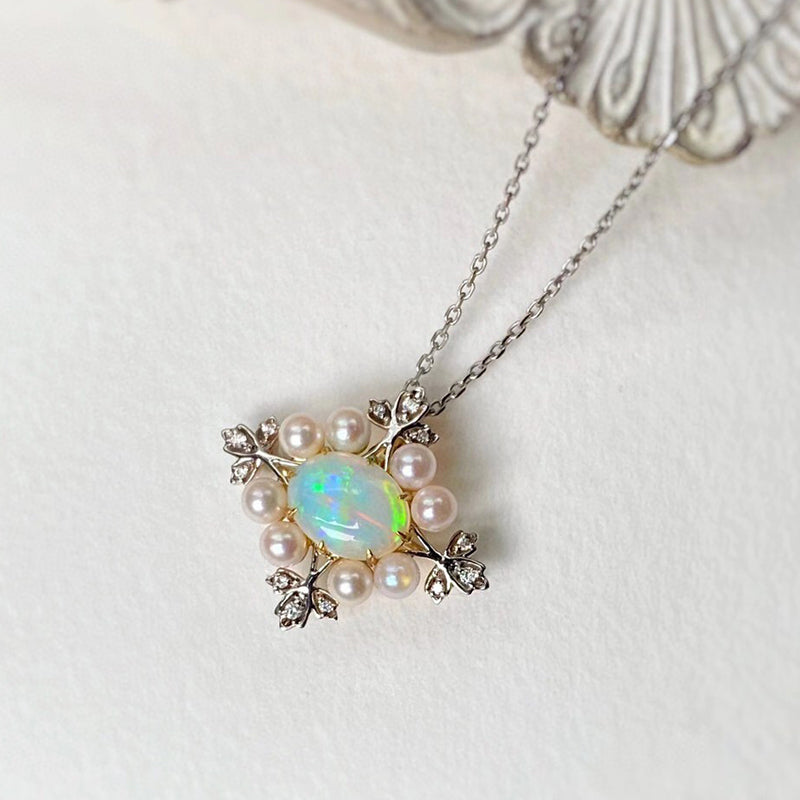 18K White & Gold Oval Cut 0.70ct Natural Opal Akoya Pearl Diamond Pendant Necklace 18""