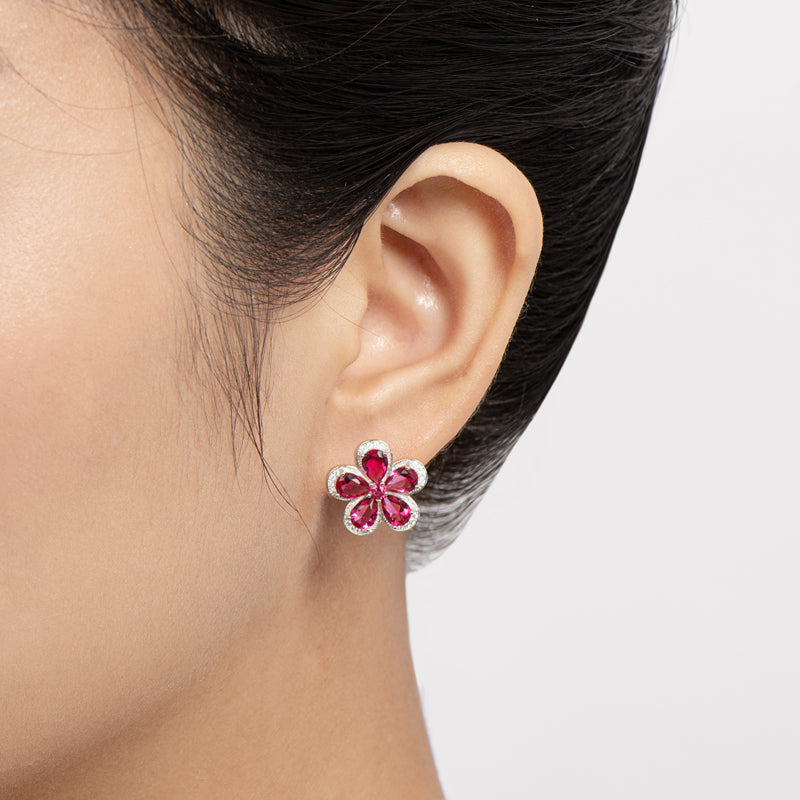 Flower 925 Sterling Silver Pink Pear Created Sapphire Stud Earrings