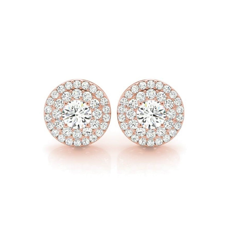 Double Halo Round Created White Diamond Stud Earrings