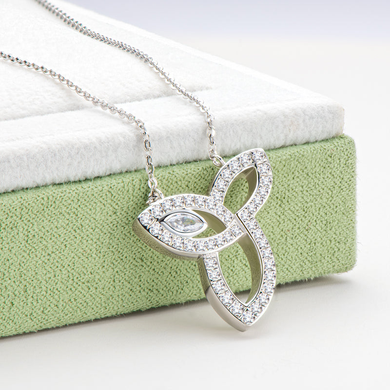 Three Leaves White Created Diamond Pendant Necklace