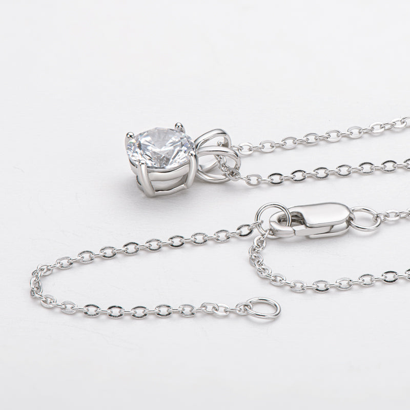 Classic Sterling Silver Created White Diamond Pendant Necklace