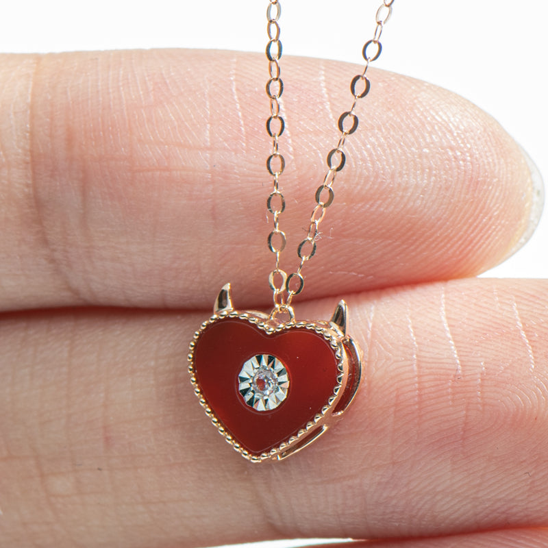 18K Rose Gold 0.015ct Natural Diamond Red Agate Sweet Heart Pendant Necklace