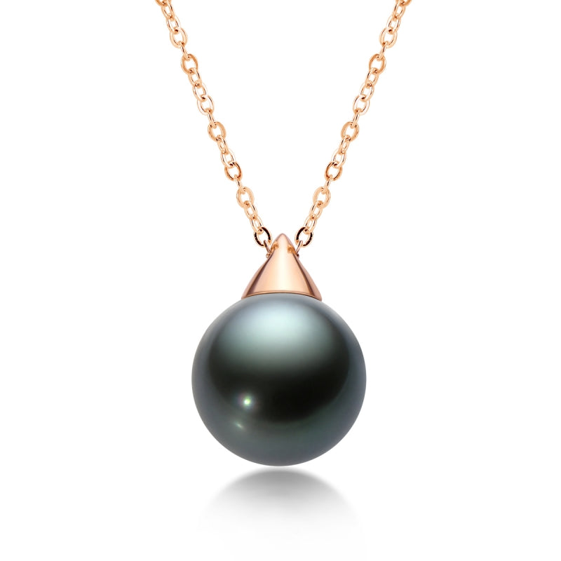 18K Gold Tahitian Cultured Black Pearl Pendant Necklace