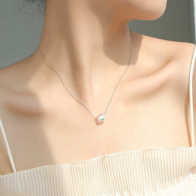 Square Sterling Silver Created White Diamond Necklace