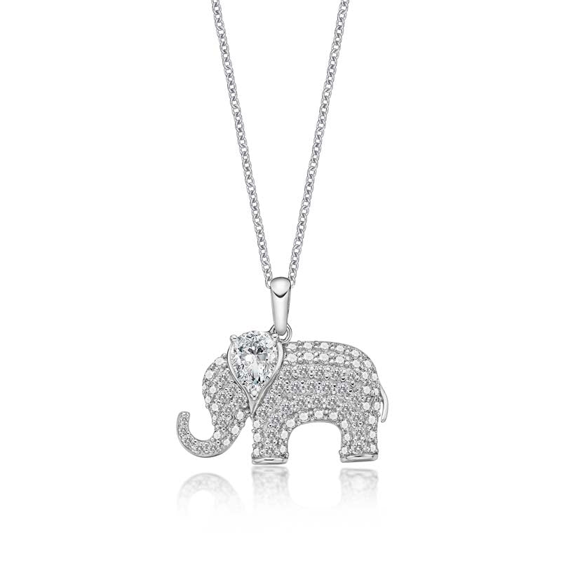 Ice Out Elephant Pear Created White Diamond Animal Pendant
