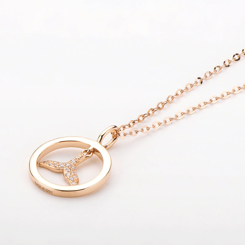 18K Rose Gold 0.029ct Natural Diamond Mermaid Whale Tail Pendant Necklace