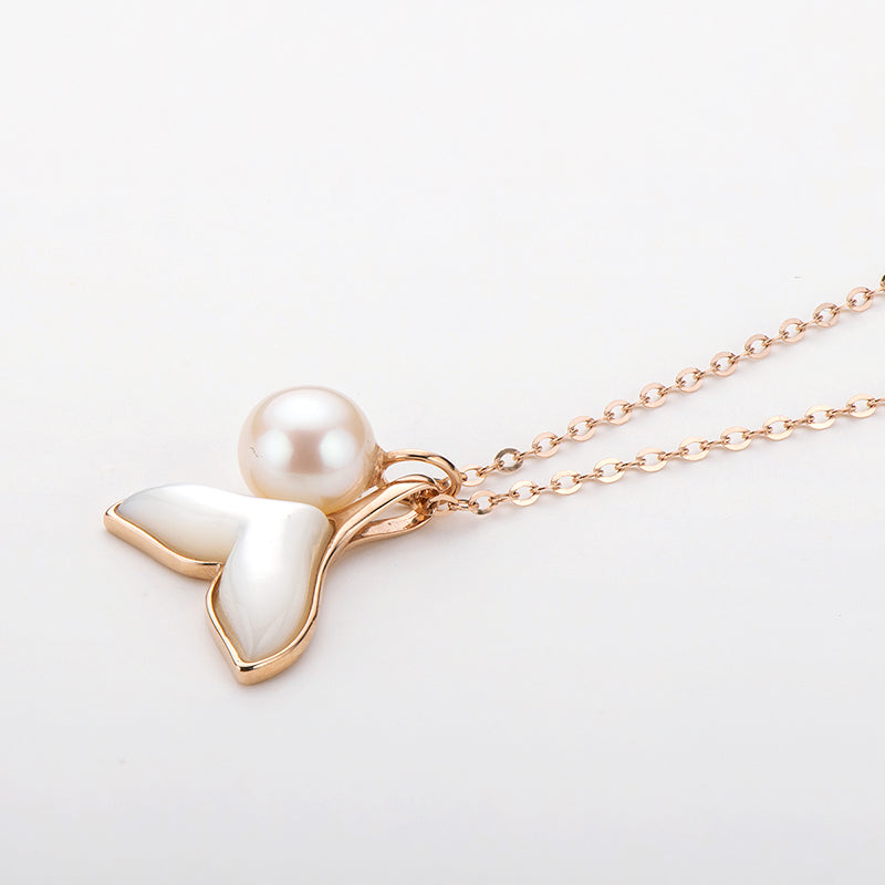 18K Rose Gold Freshwater Pearl Mother-Of-Pearl Fish Tail Pendant Necklace